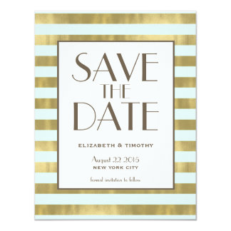Blue Gold Foil Stripes Save the Date Card