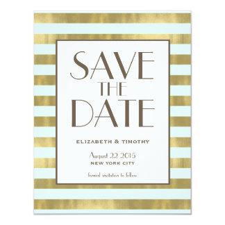 "Blue Gold Foil Stripes Save the Date 4.25"" X 5.5"" Invitation Card"