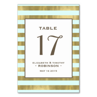 Blue Gold Foil Stripes Table number Table Card