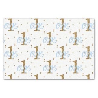 Blue & Gold Glitter Confetti 1 1st Birthday Party Tissue Paper