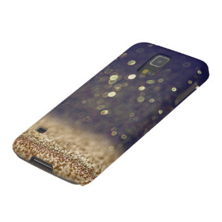Blue & Gold Glitter Galaxy S5 Covers