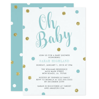 Blue & Gold Glitter Oh Baby Shower Card