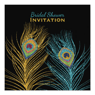 Blue Gold Glitter Peacock Feather Bridal Shower Card