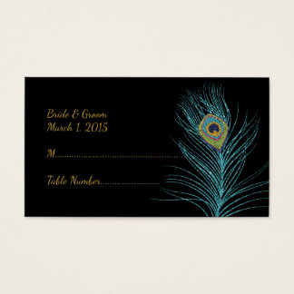 Blue Gold Glitter Peacock Feather Place Cards