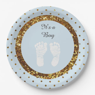 Blue & Gold Glitter Personalized  Paper Plates