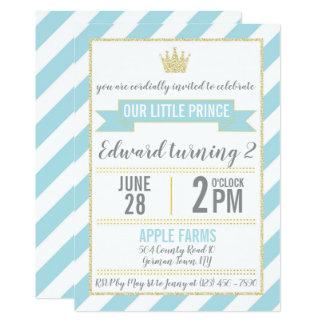 Blue Gold Glitter Prince Birthday Invitation