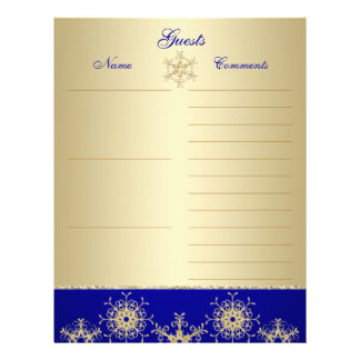 Blue, Gold Glitter Snowflakes Guest Book Paper
