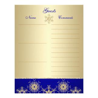 Blue, Gold Glitter Snowflakes Guest Book Paper Letterhead Template