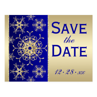 Blue, Gold Glitter Snowflakes Save Date Postcard
