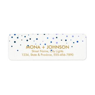 Blue Gold Glitter Sparkle Confetti Dots Modern Return Address Label
