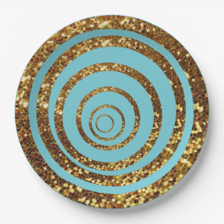 Blue & Gold Glitter Swirl and Polka Dot Plates