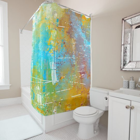 Blue, Gold, Green, Sky Abstract Shower Curtain
