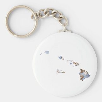 Blue & Gold Hawaii State Map Keychain