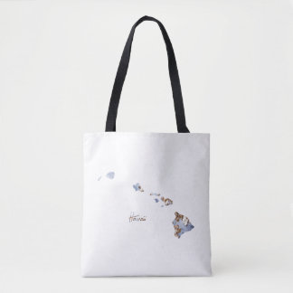Blue & Gold Hawaii State Map Tote Bag