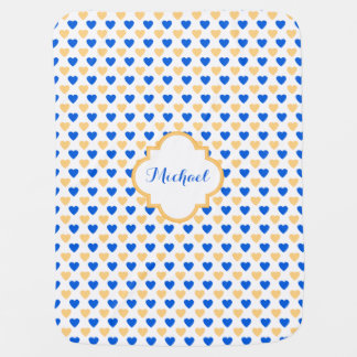 Blue Gold Hearts Pattern Personalized Baby Blanket
