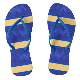 Blue & Gold Horizontal Striped Flip Flops