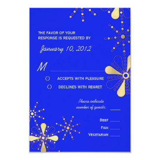 Blue & Gold Indian Inspired RSVP Meal Options 3.5x5 Paper Invitation Card