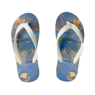 Blue gold kid's flip flops