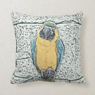blue gold macaw on perch watercolor throw pillow