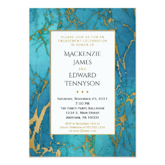 Blue Gold Marble Engagement Party Invitation