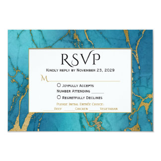 Blue Gold Marble RSVP Wedding Response w/ Meal Card