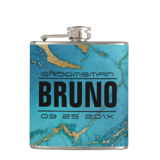 Blue & Gold Marble Stone Groomsman Gift Hip Flask
