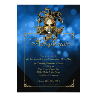 Blue Gold Masquerade Mardi Gras Ball Invitation