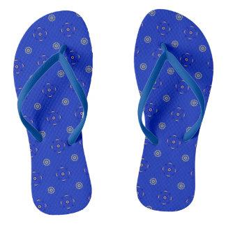 Blue & Gold Medieval Medallion-Pattern Flip-Flops Flip Flops