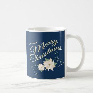 Blue & Gold Merry Christmas & White Poinsettias Mugs