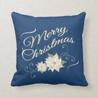 Blue & Gold Merry Christmas & White Poinsettias Throw Pillows