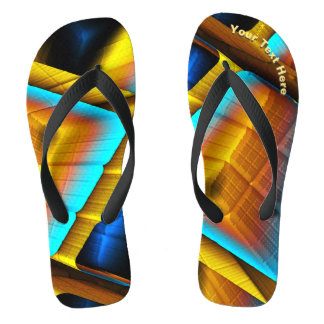 Blue-Gold Metallic Pattern 33 Flip Flops