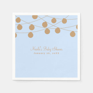 Blue & Gold Modern String Lights Baby Shower Party Disposable Napkin