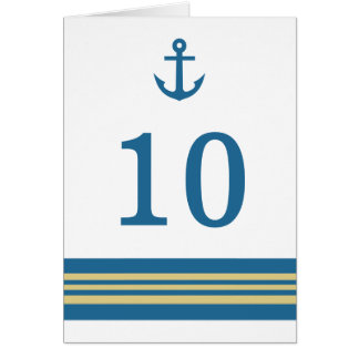 Blue Gold Nautical Anchor Table Number Card