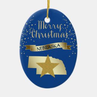 Blue Gold Nebraska Star Ceramic Oval Ornament