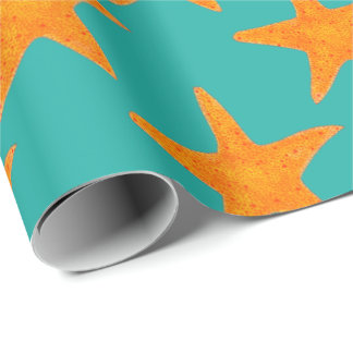 Blue Gold Orange Starfish Star Fish Beach Wrap
