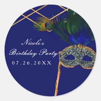 Blue & Gold Peacock Masquerade Party Custom Favor Classic Round Sticker