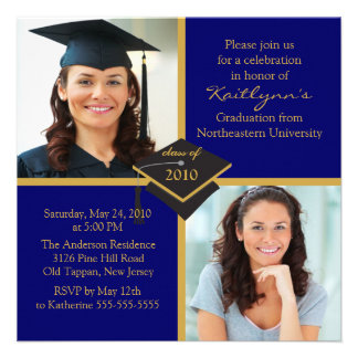 Blue Gold Photo Graduation Invitation