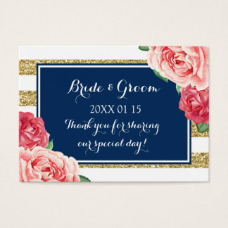 Blue Gold Pink Floral Wedding Favor Tags