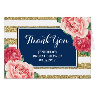 Blue Gold Pink Flowers Bridal Shower Thanks Card