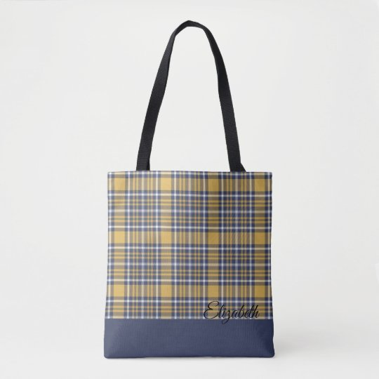 Blue & Gold Plaid Personalized Tote Bag