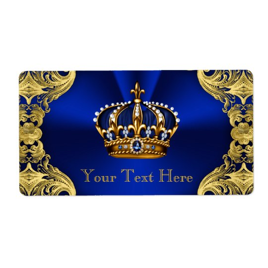 Blue Gold Prince Baby Shower Water Bottle Shipping Label