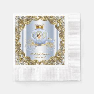 Blue Gold Prince Carriage Prince Baby Shower Paper Napkin