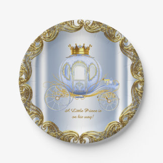 Blue Gold Prince Royal Carriage Prince Baby Shower 7 Inch Paper Plate
