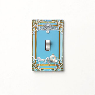 Blue Gold Princess Crown & Carriage Fairy Tale Light Switch Cover