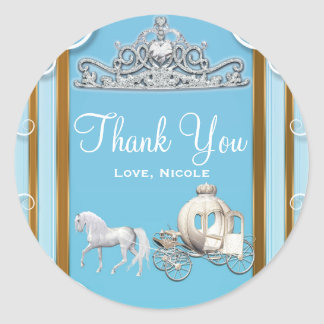 Blue Gold Princess Crown & Carriage Sweet 16 Party Classic Round Sticker