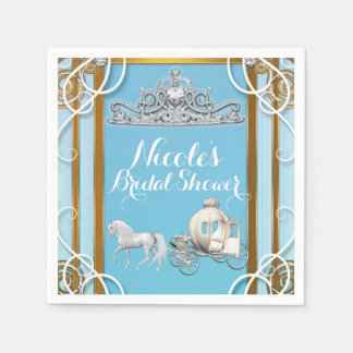 Blue Gold Princess Crown & Carriage Sweet 16 Party Paper Napkins
