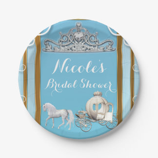 Blue Gold Princess Crown & Carriage Sweet 16 Party Paper Plate