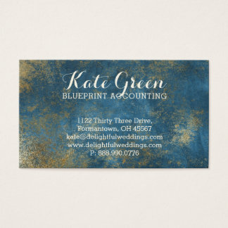 BLUE Gold Professional Accounting Elegant Business Card