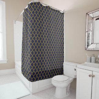 Blue & Gold Quatrefoil Shower Curtain