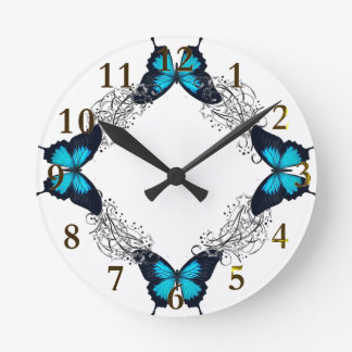 blue & gold round clock